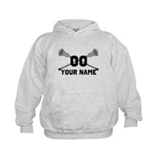 Personalized Crossed Lacrosse Sticks White Hoodie