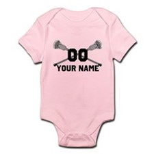 Personalized Crossed Lacrosse Sticks White Infant