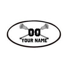 Personalized Crossed Lacrosse Sticks White Patches