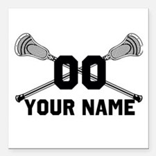 Personalized Crossed Lacrosse Sticks White Square