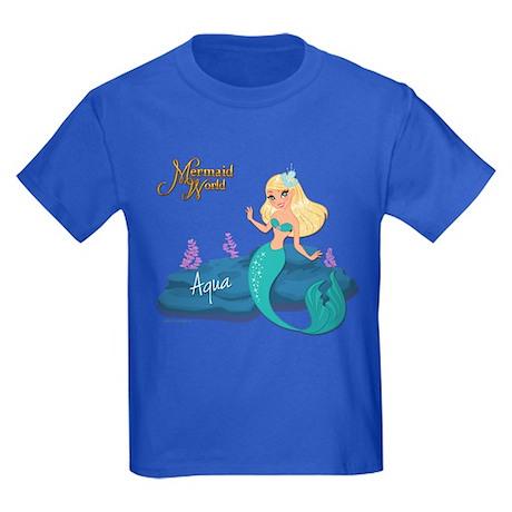 Aqua mermaid kids dark t shirt aqua mermaid t shirt for Aqua blue color t shirt