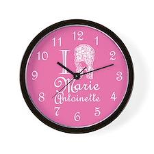 I Love (Wig) Marie Antoinette Pink Wall Clock