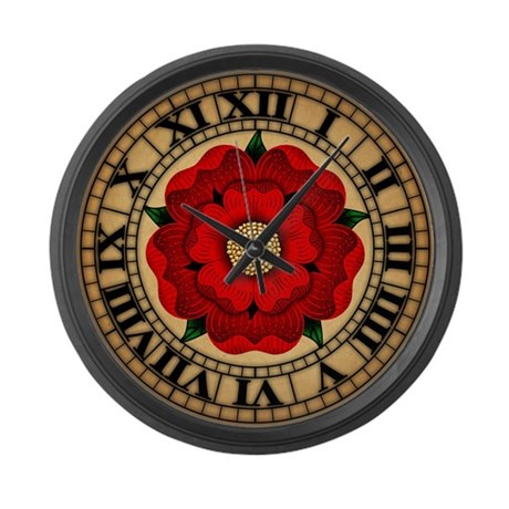 Red Rose Of Lancaster Large Wall Clock