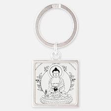 Medicine Buddha BW Square Keychain