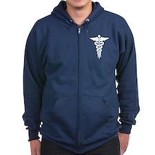 Medical Symbol Caduceus Zip Hoodie (dark)