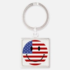 God Bless America Square Keychain