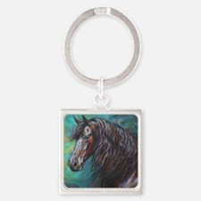Zelvius the Friesian horse Square Keychain