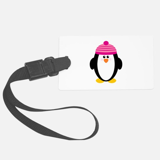 Pink Hat Penguin Large Luggage Tag