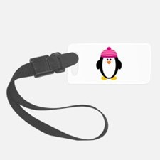 Pink Hat Penguin Luggage Tag