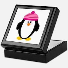 Pink Hat Penguin Keepsake Box