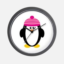 Pink Hat Penguin Wall Clock