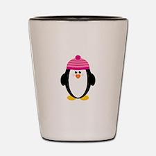Pink Hat Penguin Shot Glass