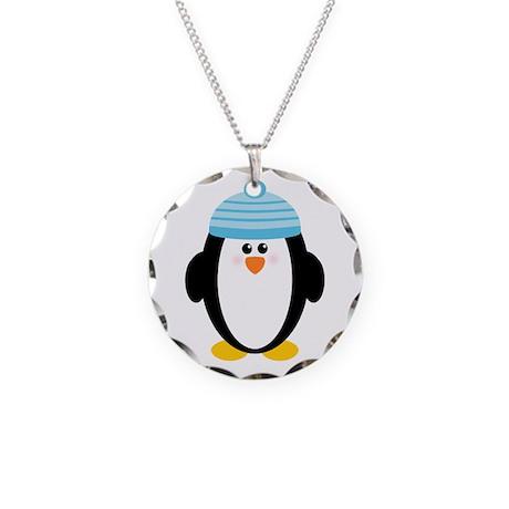 Blue Hat Penguin Necklace Circle Charm