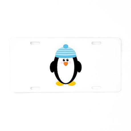 Blue Hat Penguin Aluminum License Plate