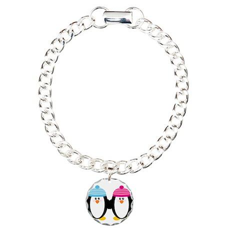 A Couple of Cute Penguins Charm Bracelet, One Char
