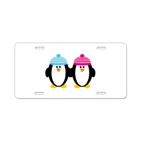 A Couple of Cute Penguins Aluminum License Plate