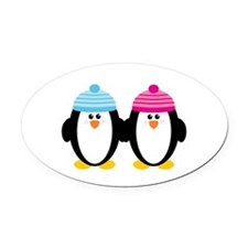 A Couple of Cute Penguins Oval Car Magnet