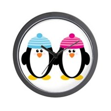 A Couple of Cute Penguins Wall Clock