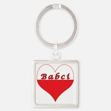Babci Polish Heart Square Keychain