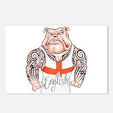English Bulldog with Tribal Tattoos Postcards (Pac