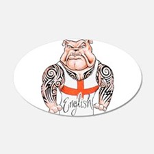 English Bulldog with Tribal Tattoos Wall Decal