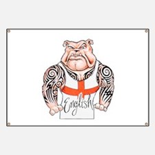 English Bulldog with Tribal Tattoos Banner