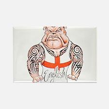 English Bulldog with Tribal Tattoos Rectangle Magn