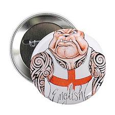 "English Bulldog with Tribal Tattoos 2.25"" Button"
