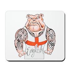 English Bulldog with Tribal Tattoos Mousepad