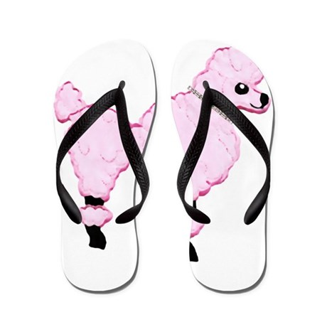 Pink Poodle with Jeweled Collar Flip Flops