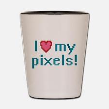 I Love My Pixels Shot Glass