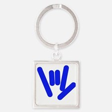 ASL Rocks Bright Blue Square Keychain