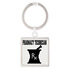 Pharmacy Technician Rx Square Keychain