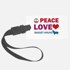Peace Love Basset Hound Luggage Tag