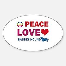 Peace Love Basset Hound Sticker (Oval)