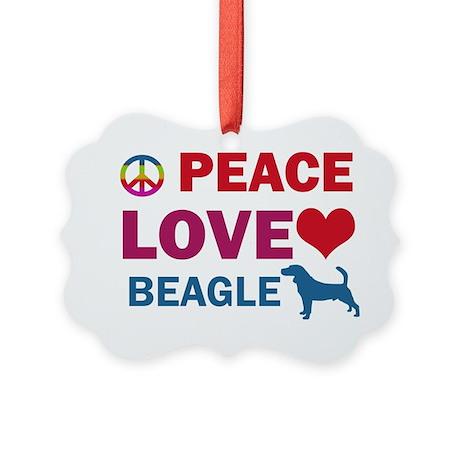 Peace Love Beagle Picture Ornament