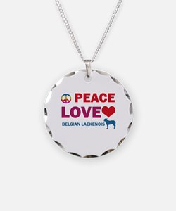 Peace Love Belgian Laekenois Necklace Circle Charm