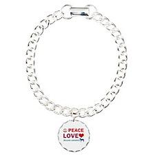 Peace Love Belgian Laekenois Charm Bracelet, One C