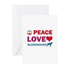 Peace Love Bloodhound Greeting Cards (Pk of 20)