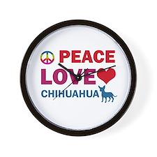 Peace Love Chihuahua Wall Clock