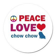 Peace Love Chow Chow Round Car Magnet
