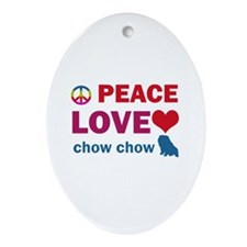 Peace Love Chow Chow Ornament (Oval)