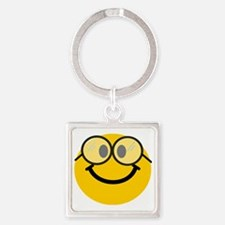 Geek Smiley Square Keychain