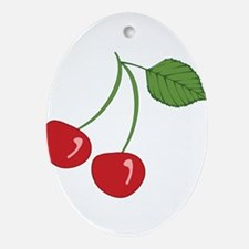 Retro Cherries Ornament (Oval)