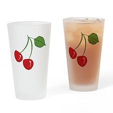 Retro Cherries Drinking Glass