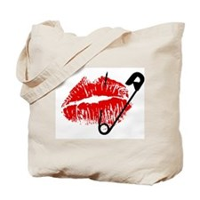 Safety Pinned Kiss Tote Bag