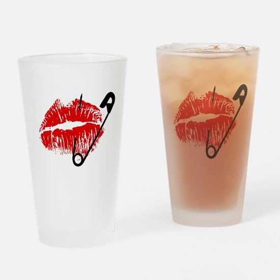 Safety Pinned Kiss Drinking Glass
