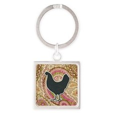 Paisley Chicken Square Keychain