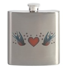 Retro Swallows And Stars Heart Flask