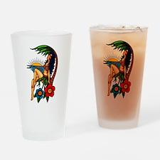 Island Sunset Tattoo Art Drinking Glass